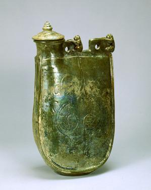 緑釉皮嚢壺