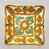 三彩花文角盤