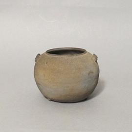 灰陶布目印文管耳壺